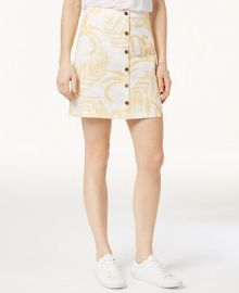 MINKPINK Paradise Linen Printed Button-Front Skirt at Macys