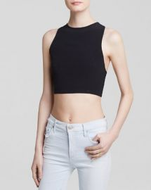 MINKPINK Top - Crepe Fitted Racer Crop at Bloomingdales