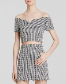 MINKPINK Top - Scalloped Sweetheart Checkered Crop at Bloomingdales