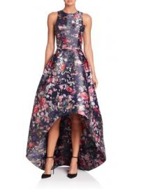 ML Monique Lhuillier - Floral Printed Mikado High-Low Gown at Saks Fifth Avenue