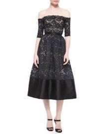 ML Monique Lhuillier Off-the-Shoulder Lace Cocktail Dress BlackNude at Neiman Marcus