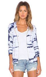 MONROW Bamboo Tie Dye Hoodie in Surf at Revolve
