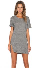 MONROW Vintage Burn Out Oversized Tee Shirt Dress in Granite at Revolve