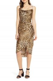 MOON RIVER Cowl Neck Leopard Print Midi Dress   Nordstrom at Nordstrom