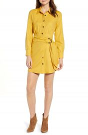 MOON RIVER Faux Wrap Shirtdress at Nordstrom