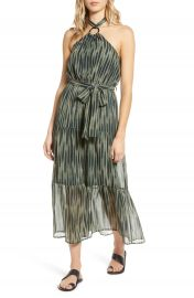 MOON RIVER Tiered Halter Chiffon Maxi Dress   Nordstrom at Nordstrom
