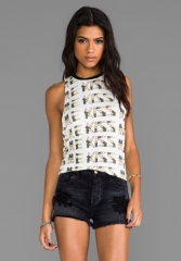 MORNING WARRIOR Kiss Me Lipstick Tank in IvoryBlack at Revolve