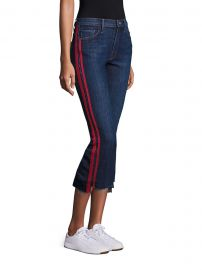 MOTHER - Insider High-Rise Side Stripe Raw Hem Cropped Jeans at Saks Fifth Avenue