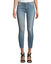 MOTHER Stunner Skinny Step-Hem Frayed Jeans with Racer Stripes at Neiman Marcus