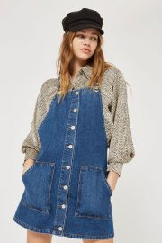 MOTO Button Through Pinafore Dress at Topshop