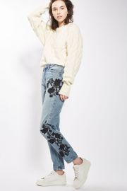 MOTO Floral Embroidered Mom Jeans at Topshop