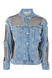 MOTO Oversized Denim Fishnet Jacket at Topshop