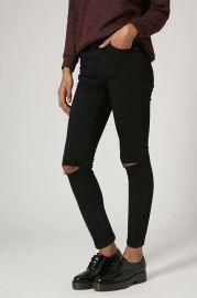 MOTO Black Ripped Jamie Jeans at Topshop
