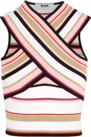 MSGM  Cropped striped cotton-blend top at Net A Porter