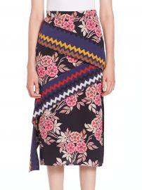 MSGM  Floral Chevron Midi Skirt at Saks Fifth Avenue