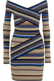 MSGM  Striped stretch cotton-blend mini dress at Net A Porter