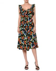 MSGM Floral Sleeveless Silk Midi Dress  at Neiman Marcus