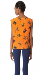 MSGM Panther Silk Top at Shopbop