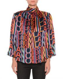 MSGM Printed Satin Boxy High-Neck Blouse with Removable Shoulder Pads at Neiman Marcus
