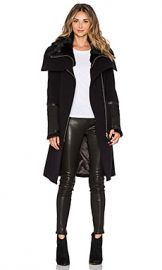 Mackage Isabel Coat with Sheepskin in Black at Revolve