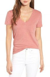 Madewell  Whisper  Cotton V-Neck Pocket Tee Pink at Nordstrom
