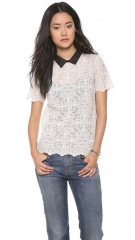 Madewell Lace Tee with Faux Leather Collar at Shopbop