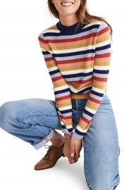 Madewell Stripe Mock Neck Pullover Sweater   Nordstrom at Nordstrom
