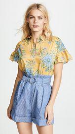 Madewell Yellow Van Gogh Floral Printed Ruffle Sleeve Shirt at Shopbop