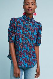 Maeve Printed Henley Blouse at Anthropologie