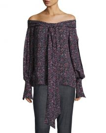 Magda Butrym Mons Long-Sleeve Floral-Print Off-the-Shoulder Blouse Purple at Bergdorf Goodman