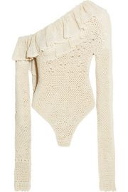 Magda Butrym   Natal one-shoulder ruffled crocheted cotton-blend bodysuit at Net A Porter
