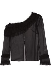 Magda Butrym   Vigo one-shoulder ruffle-trimmed silk-chiffon blouse at Net A Porter