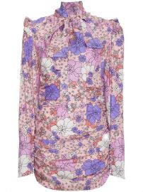 Magda Butrym Silk Neck Tie Floral Mini Dress at Farfetch