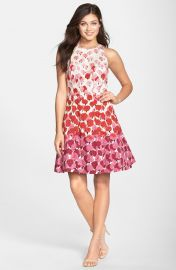 Maggy London Floral Print Fit and Flare Dress in Pink at Nordstrom