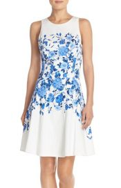 Maggy London Floral Sateen Fit and Flare Dress at Nordstrom