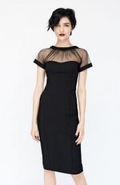 Maggy London Illusion Yoke Crepe Sheath Dress in Black at Nordstrom