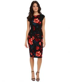 Maggy London Printed Crepe Evening Rose Sheath with Lace Panels BlackFuchsia at Zappos