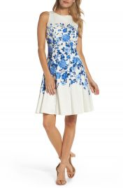 Maggy London Stretch Cotton Fit   Flare Dress at Nordstrom