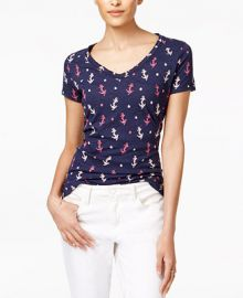 Maison Jules Cotton Anchor-Print T-Shirt  Only at Macy s at Macys