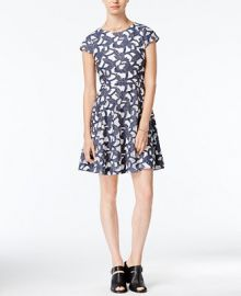 Maison Jules Denim Lace Fit   Flare Dress  Only at Macy s at Macys