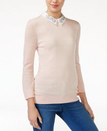 Maison Jules Embellished Collar Sweater  Only at Macy s at Macys