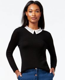 Maison Jules Embellished Perforated-Detail Sweater Only at Macys at Macys