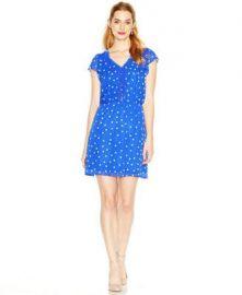 Maison Jules Flutter-Sleeve Dot-Print Dress in Blue at Macys