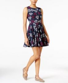 Maison Jules Heart-Print Fit   Flare Dress at Macys