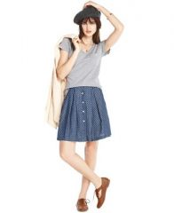 Maison Jules Polka Dot Denim Skirt at Macys
