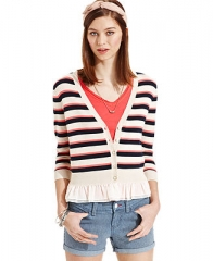 Maison Jules Striped Ruffle Cardigan - Sweaters - Women - Macys at Macys