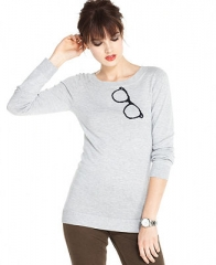 Maison Jules Sweater Long Sleeve Graphic Intarsia Knit - Sweaters - Women - Macys at Macys