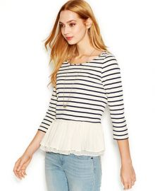 Maison Jules Three-Quarter-Sleeve Striped Ruffled Top at Macys