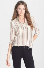 Maison Scotch Stripe Print Silk Shirt at Nordstrom