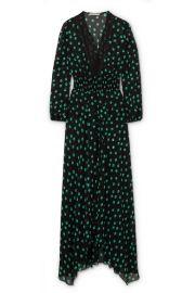 Maje   Asymmetric lace-trimmed printed chiffon dress at Net A Porter
